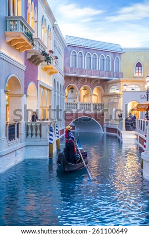 LAS VEGAS - FEB 04 : The Venetian hotel and replica of a Grand canal in Las Vegas on February 04 , 2015. With more than 4000 suites it`s one of the most famous hotels in the world - stock photo