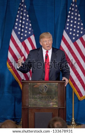LAS VEGAS - FEBRUARY 02: Donald Trump at the Trump International Hotel to endorse Presidential Candidate Mitt Romney for President, February 02, 2012 in Las Vegas, NV - stock photo