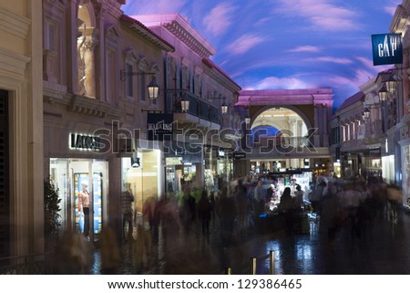 LAS VEGAS - FEBRUARY 22, 2013 - The Caesars mall on February 22, 2013  in Las Vegas. The Forum shops at Caesars split into 3 wings. The main wing ends in a 3 story open area that borders the strip. - stock photo
