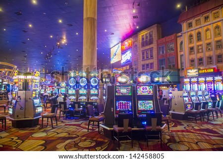 LAS VEGAS - FEBRUARY 14 : The interior of New York-New York Hotel & Casino in Las Vegas on February 14 2013; This hotel simulates the real New York City street and It was opened in 1997. - stock photo