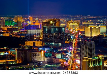 Las Vegas from above at night - stock photo