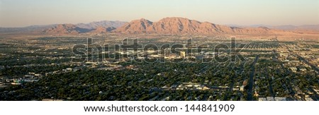 Las Vegas Gambling City at sunset,  Nevada - stock photo