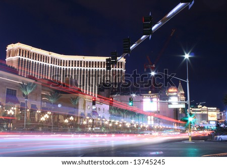 Las Vegas Hotel on the Strip at Night - stock photo