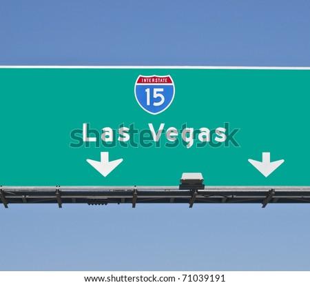 Las Vegas I-15 Freeway sign in bright daylight. - stock photo