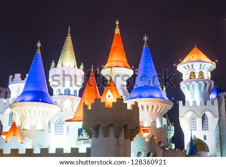 LAS VEGAS -JAN 09: The Excalibur Hotel and Casino at night on January 09, 2013 , The Hotel was named after King Arthur's sword and opened in 1990 - stock photo