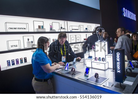 LAS VEGAS - JAN 08 : The Samsung booth at the CES show held in Las Vegas on January 08 2017 , CES is the world's leading consumer-electronics show.