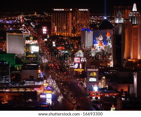 LAS VEGAS - JANUARY 11:  Night Panorama of Las Vegas Boulevard, The Strip. Hotels and casinos of Las Vegas, on January 11,  2006 in Las Vegas Nevada - stock photo
