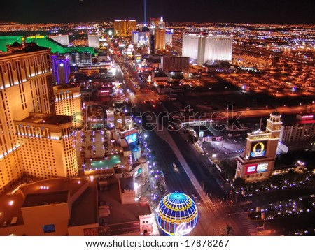 LAS VEGAS - JANUARY 11: Night Panorama of Las Vegas Boulevard, The Strip. Hotels and casinos of Las Vegas, gambling capital. Night life. January 11, 2006, Las Vegas, Nevada, USA - stock photo