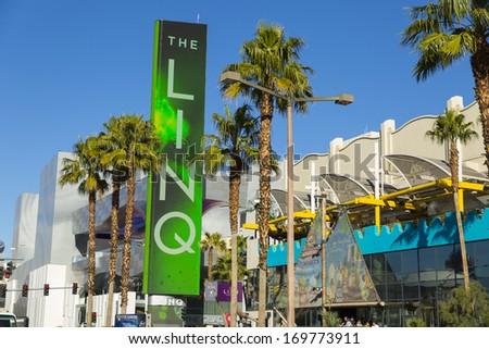 LAS VEGAS - JANUARY 04, 2014 - The Linq Sign on January 04, 2014  in Las Vegas. Linq the shopping and dining area leading up to The High Roller Wheel is now open for business.