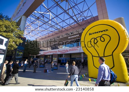 LAS VEGAS - JANUARY 8, 2009: The massive front entrance of Las Vegas Convention Building at the 2009 Consumer Electronic Show held in Las Vegas, Nevada, on January 8, 2009. - stock photo