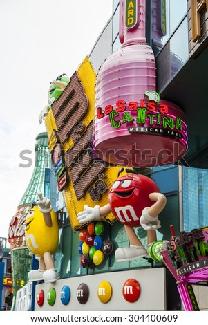 LAS VEGAS - JULY 6, 2015: front view of the M&M's World on the Strip of Las Vegas. The opening of this first store was in 2007, followed very soon by New York, Orlando and lately London. - stock photo
