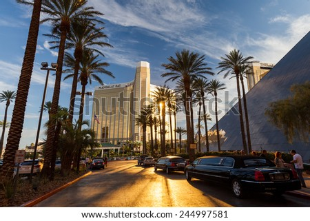 LAS VEGAS - JULY 5: Mandalay Bay Resort and Casino exterior on July 5, 2011. Its a 43-story luxury hotel and casino on the Las Vegas Strip, owned and operated by MGM Resorts International. - stock photo