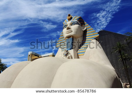 LAS VEGAS - 28 July: Statue of Sphinx from Luxor Hotel Casino, the most recognizable hotels on the popular Vegas strip because of its striking design, JULY 28, 2011 in Las Vegas, Nevada. - stock photo
