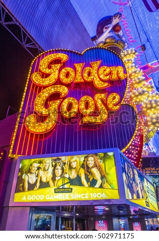 LAS VEGAS - JULY 04: The golden goose sign at the Fremont Street Experience on July 04 2016 in Las Vegas Nevada The Fremont Street Experience is a pedestrian mall and attraction in downtown Las Vegas