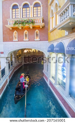 LAS VEGAS - JULY 21 : The interior of the Venetian hotel & Casino in Las Vegas on July 21, 2014. With more than 4000 suites it's one of the most famous hotels in the world. - stock photo