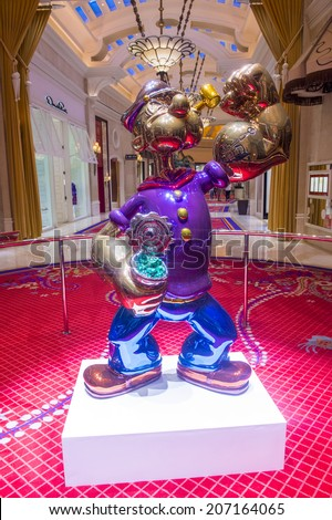 LAS VEGAS - JULY 21 : The Jeff Koons Popeye Sculpture display at the Wynn Hotel in Las Vegas on July 21 2014. The sculpture purchased by Steve Wynn in May 2014 for $28.1 million dollars - stock photo