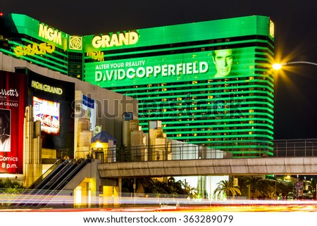 LAS VEGAS - JULY 7 2015: The MGM Grand Hotel & Casino  in Las Vegas, Nevada. The MGM Grand opened on December 18, 1993 and it was the largest hotel in the world when it opened. - stock photo