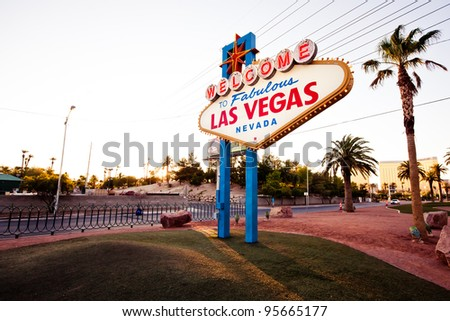 LAS VEGAS - JULY 13: The Welcome to Fabulous Las Vegas sign on Las Vegas Strip on July 13, 2011 in Las Vegas, Nevada. Landmark funded in May 1959 and erected soon after by Western Neon. - stock photo