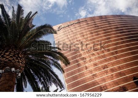 LAS VEGAS - JULY 30: Wynn and Encore Las Vegas Resort and Country Club located on the Las Vegas Strip on July 30, 2012 in Las Vegas. Wynn opened on April 28, 2005 and cost US$2.7 billion to build - stock photo