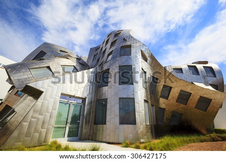 LAS VEGAS JUN 29 2015: The innovative, landmark Cleveland Clinic building designed by modernist architect Frank Gehry sets a high standard about 40 million people visiting the city each year.  - stock photo