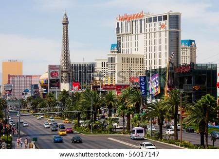 LAS VEGAS - JUNE 3: A view of Las Vegas strip on June 3, 2010 in Las Vegas. The strip is approximately 4.2 mi (6.8 km) long. - stock photo