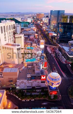 LAS VEGAS - JUNE 3: An aerial view of Las Vegas strip on June 3, 2010 in Las Vegas. The strip is approximately 4.2 mi (6.8 km) long. - stock photo