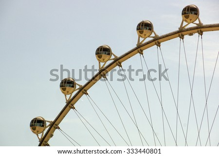LAS VEGAS - JUNE 27, 2015 - Close-up of The High Roller Wheel at dawn at the center of the Las Vegas Strip on June 27, 2015 in Las Vegas. The High Roller is the world's largest observation wheel. - stock photo
