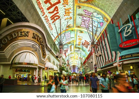 LAS VEGAS - JUNE 16 : Fremont Street in Las Vegas, Nevada on June 16, 2012. The street is the second most famous street in the Las Vegas. Fremont Street dates back to 1905, when Las Vegas was founded.