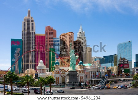 LAS VEGAS - JUNE 3: New York-New York located on the Las Vegas Strip is shown on June 3, 2010 in Las Vegas. Replica of the Statue of Liberty is 150 ft (46 m) and the property opened in 1997. - stock photo