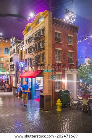 LAS VEGAS - JUNE 17 : The interior of New York-New York Hotel & Casino in Las Vegas on June 17 2014; This hotel simulates the real New York City skyline and It was opened in 1997. - stock photo