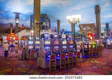 LAS VEGAS - JUNE 17 : The interior of Paris hotel and casino on June 17 , 2014 in Las Vegas, Nevada,  The Paris hotel opened in 1999 and features a replica of the Eiffel Tower. - stock photo