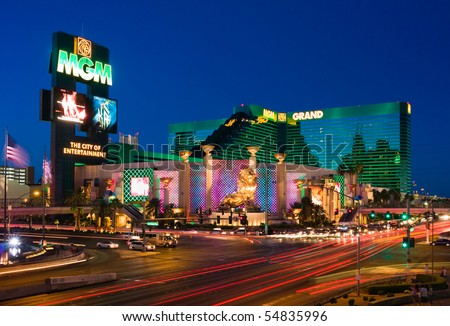 LAS VEGAS - JUNE 4: The MGM Grand Hotel & Casino on June 4, 2010 in Las Vegas, Nevada. The MGM Grand opened on  December 18, 1993 and it  was the largest hotel in the world when it opened. - stock photo