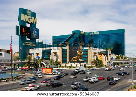 LAS VEGAS - JUNE 3: The MGM Grand Hotel & Casino on June 3, 2010 in Las Vegas, Nevada. The MGM Grand opened on December 18, 1993 and it was the largest hotel in the world when it opened. - stock photo