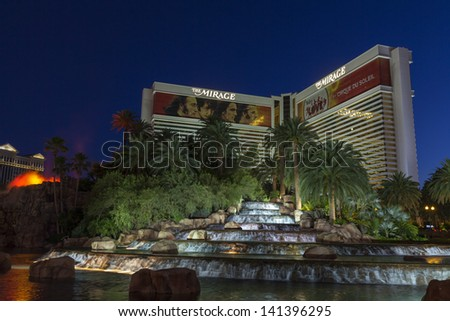LAS VEGAS - JUNE 05: The Mirage Hotel on June 05, 2013  in Las Vegas, NV. In November 2012 The Mirage became the first Vegas casino to offer Geoff Hall's Blackjack variant Free Bet Blackjack. - stock photo