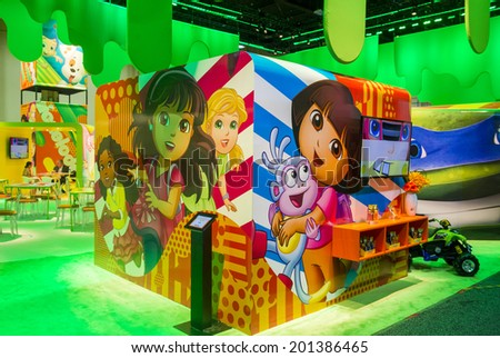LAS VEGAS - JUNE 17 : The Nickelodeon booth at the Licensing Expo in Las Vegas , Nevada on June 17 2014.  Licensing Expo is the licensing industry's largest annual event
