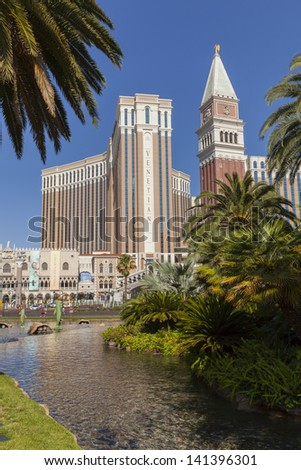 LAS VEGAS - JUNE 05, : The Venetian on June 05, 2013  in Las Vegas. In September 2012, The Travel Channel named The Venetian as one of the Ultimate 10 hotels in the world. - stock photo