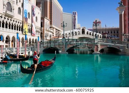 LAS VEGAS-JUNE 3:The Venetian Resort Hotel & Casino June 3, 2010 in Las Vegas.The resort opened on May 3, 1999 with flutter of white doves, sounding trumpets, singing gondoliers & actress Sophia Loren - stock photo