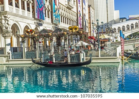 LAS VEGAS - JUNE 15: The Venetian Resort Hotel & Casino on June 15, 2012. The resort opened on May 3, 1999 with flutter of white doves, sounding trumpets, singing gondoliers and actress Sophia Loren.