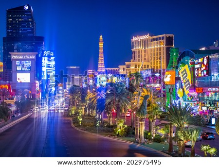 LAS VEGAS - JUNE 15 : View of the strip on June 15 , 2014 in Las Vegas. The Las Vegas Strip is an approximately 4.2-mile (6.8 km) stretch of Las Vegas Boulevard in Clark County, Nevada. - stock photo