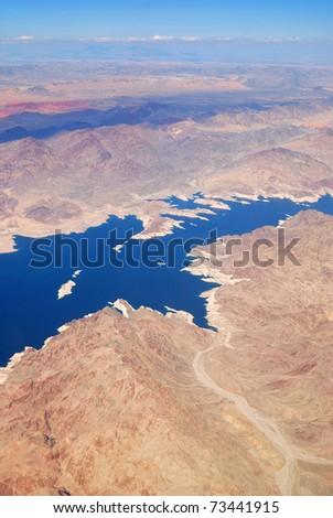 Las Vegas lake aerial view - stock photo