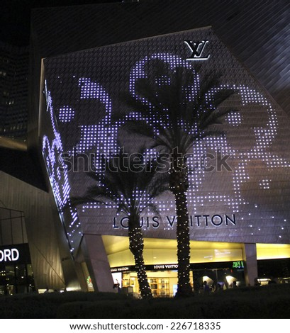 Las Vegas Louis Vuitton Boutique by Night in October 2014 - stock photo