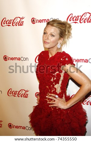 LAS VEGAS - MAR 31: Blake Lively arrives at the CinemaCon awards ceremony at the Pure Nightclub at Caesars Palace in Las Vegas, Nevada on March 31, 2011. - stock photo