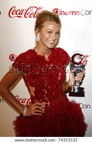 LAS VEGAS - MAR 31: Blake Lively at the CinemaCon awards ceremony at the Pure Nightclub at Caesars Palace in Las Vegas, Nevada on March 31, 2011. - stock photo