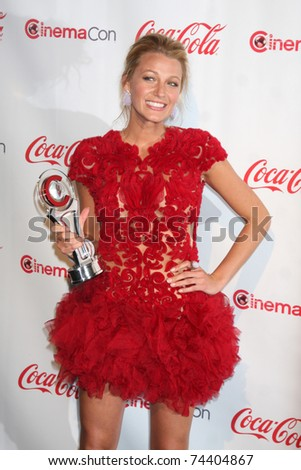 LAS VEGAS - MAR 31:  Blake Lively in the CinemaCon Convention Awards Gala Press Room at Caesar's Palace on March 31, 2010 in Las Vegas, NV. - stock photo