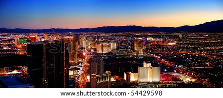 LAS VEGAS - MAR 4: City skyline panorama after sunset marking the start of the fabulous night life of the city, March 4, 2010 in Las Vegas, Nevada. - stock photo