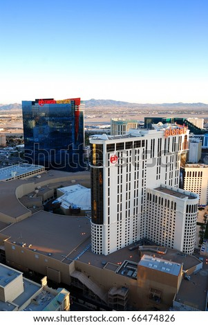 "LAS VEGAS - MAR 4:  Las Vegas Planet Hollywood Hotel, the first Las Vegas resort with table games dealt by young ladies in ""chic lingerie"", aerial view on strip on March 4, 2010 in Las Vegas, Nevada. - stock photo"
