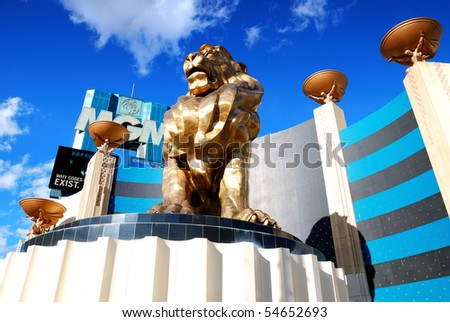 LAS VEGAS - MAR 4: MGM Grand Hotel, the second largest hotel in the world and second largest hotel resort complex in the United States, with lion statue on March 4, 2010 in Las Vegas, Nevada. - stock photo