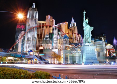 LAS VEGAS - MAR 4: New York-New York hotel casino creating the impressive New York City skyline with skyscraper towers and Statue of Liberty replica on March 4, 2010 in Las Vegas, Nevada. - stock photo