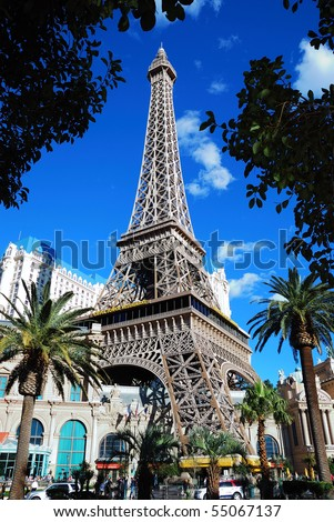 LAS VEGAS - MAR 4: Paris Las Vegas hotel and Casino Eiffel Tower replica with the theme of the city of Paris in France on March 4, 2010 in Las Vegas, Nevada. - stock photo