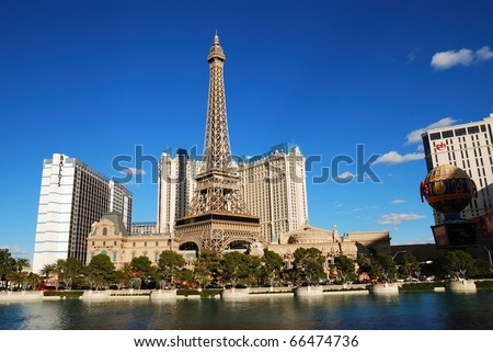 LAS VEGAS - MAR 4: Paris Las Vegas hotel and Casino featured with the theme of Paris in France on March 4, 2010 in Las Vegas, Nevada. - stock photo